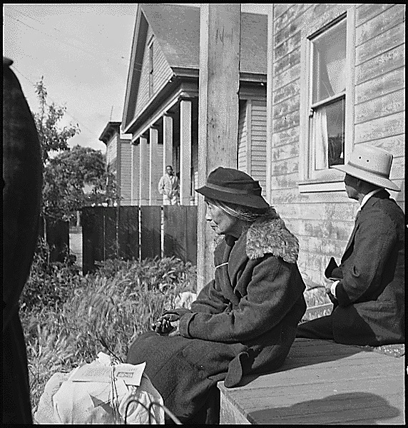 Japanese-American grandmother on porch 1942, U.S. National Archives