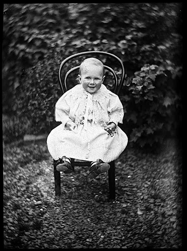Williams baby on chair, by W. Williams, via Natl Library New Zealand