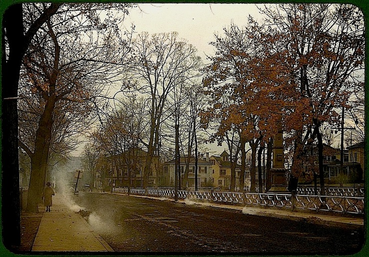 Burning leaves in Nov., via Library of Congress