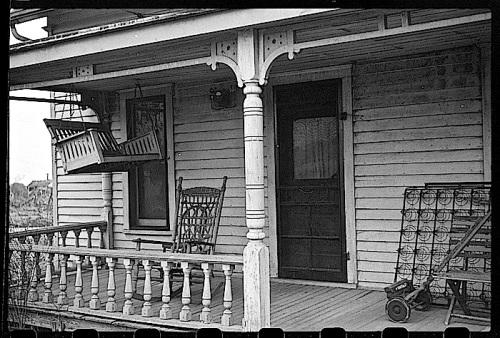 Winter prep 2, Kansas porch, J. Vachon, LoC