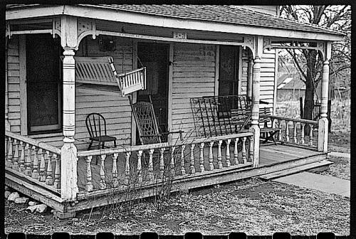 Winter prep, Kansas porch, J. Vachon, LoC