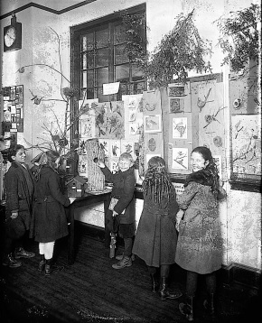 The group in a room with displays about birds on January 19, 1921.