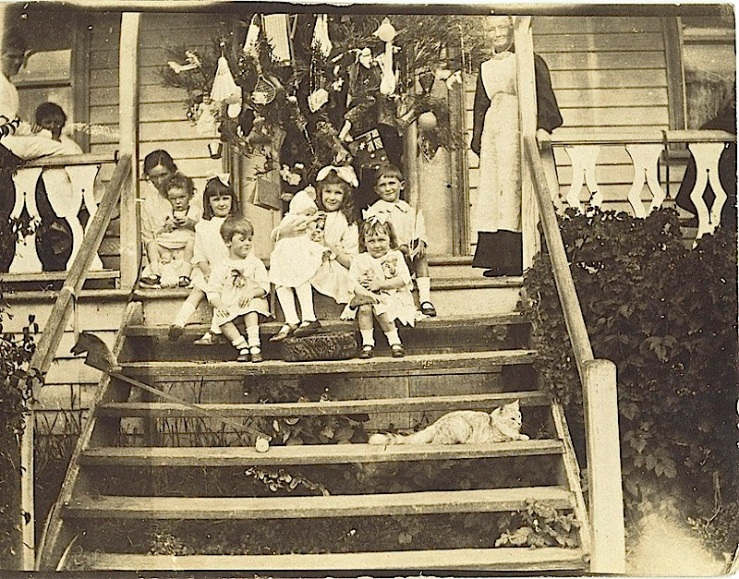Christmas scene on porch, via Tasmanian Archives on flickr