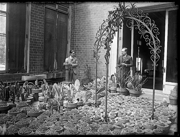 Amb. and artist in cactus garden, Mexican Amb.'s residence, via Library of Congress