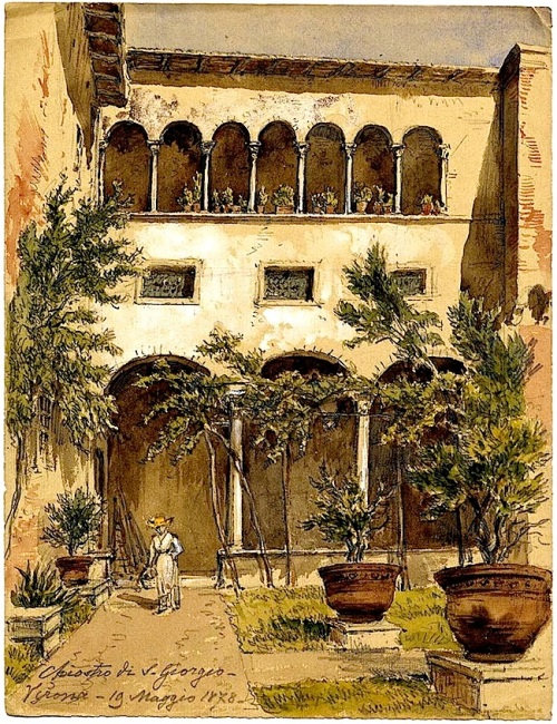 Watercolor of Italian courtyard, Natl. Archives of Estonia