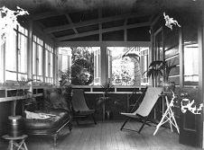 """Furnishings on a verandah of a Queensland home, ca. 1925."""