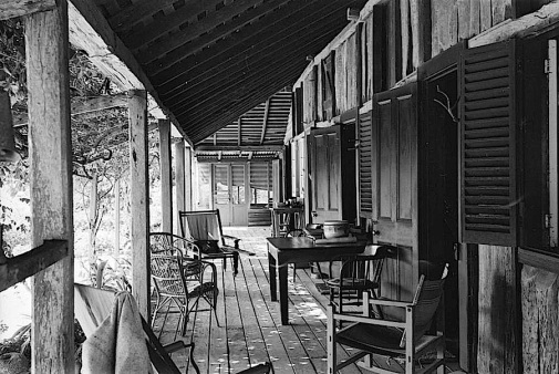 """Verandah of Gracemere Homestead, near Rockhampton,"" ca. 1940."