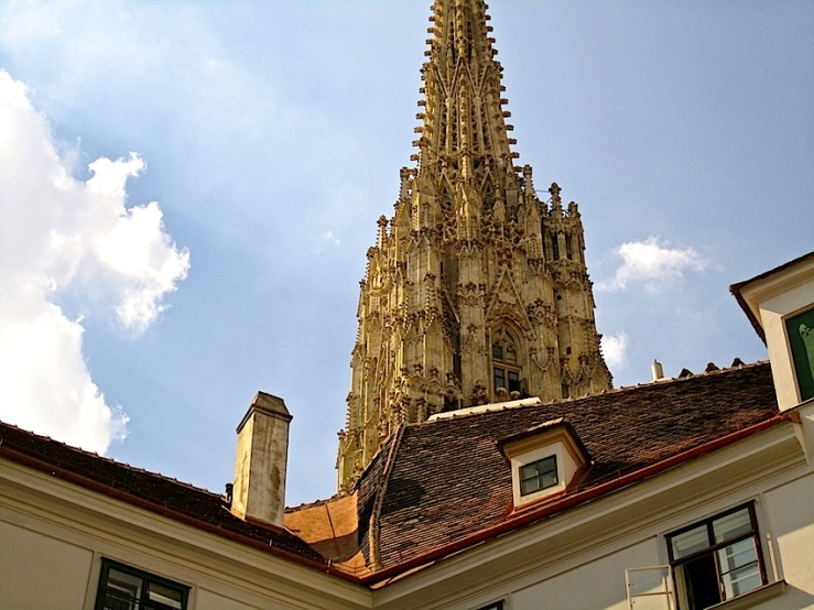 The south tower of St. Stephen's Cathedral in Vienna, by enclos*ure.