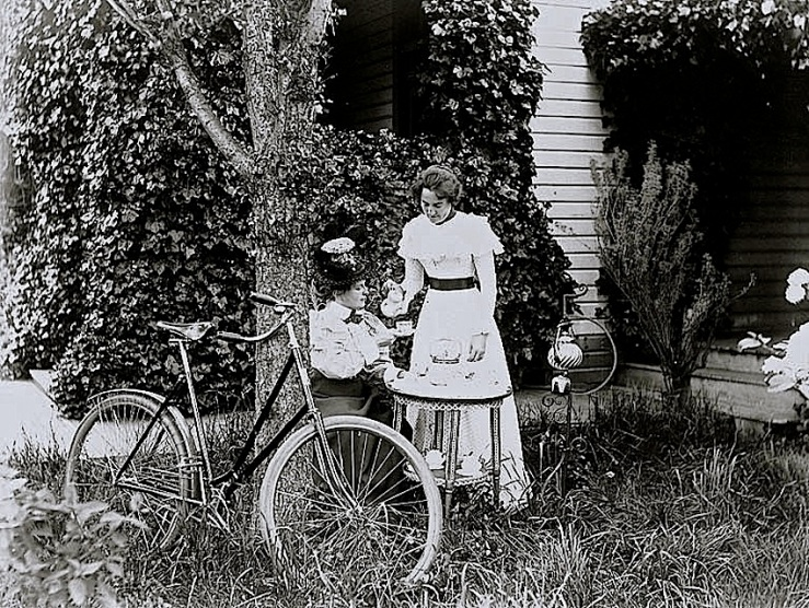 Tea and bicycle, ca. 1900, Univ. of Washington Libraries