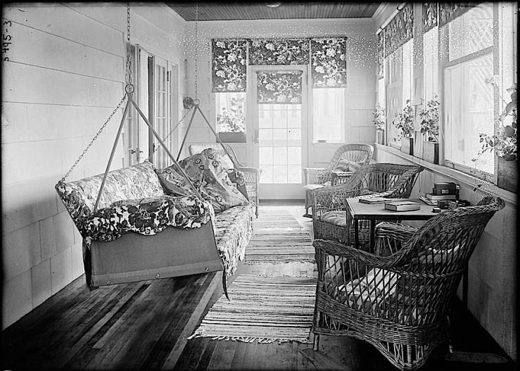 The Sunday porch:enclos*ure- cozy porch interior, ca. 1900, via Library of Congress