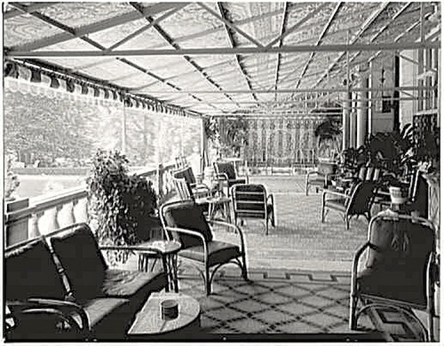 Wakehurst, Newport, RI, 1950s, via Library of Congress:The Sunday porch-enclos*ure