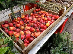 Boxes of small apples for decoration.