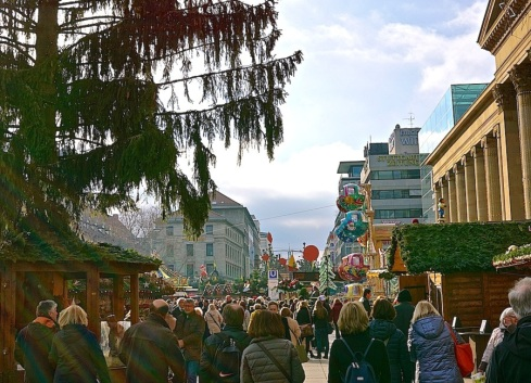 Looking down Königstraße, a 1.2 km. pedestrian shopping avenue, which begins at the main train station.