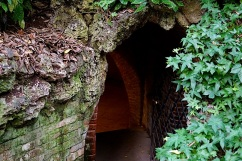 The grotto beneath a berm.