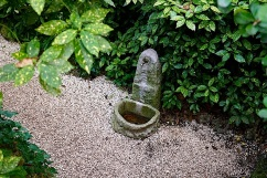 An old stone trough from above.