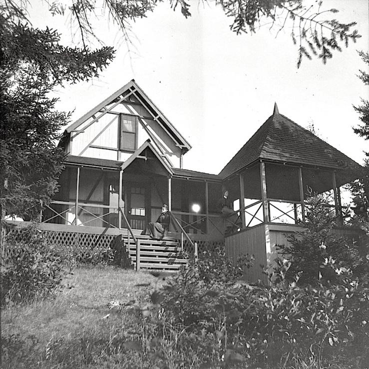 Summer porch, c.1900, by Theresa. Babb, via Camden Public Library