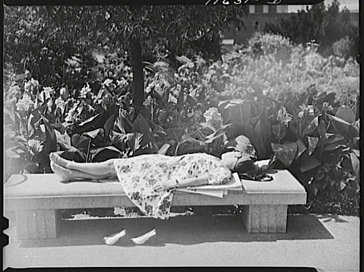Woman taking nap in D.C. Botanical Garden, 1942, Library of Congress