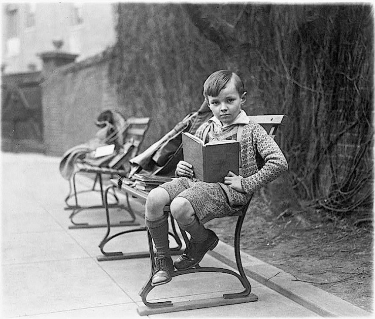 Boy reading a book, 1920, Library of Congress