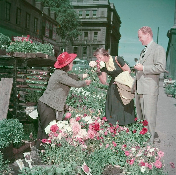 Flower seller, 1950, Montreal, Library and Archives Canada on flickr