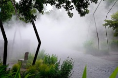 Fog on the main walkway, shown from the north side.