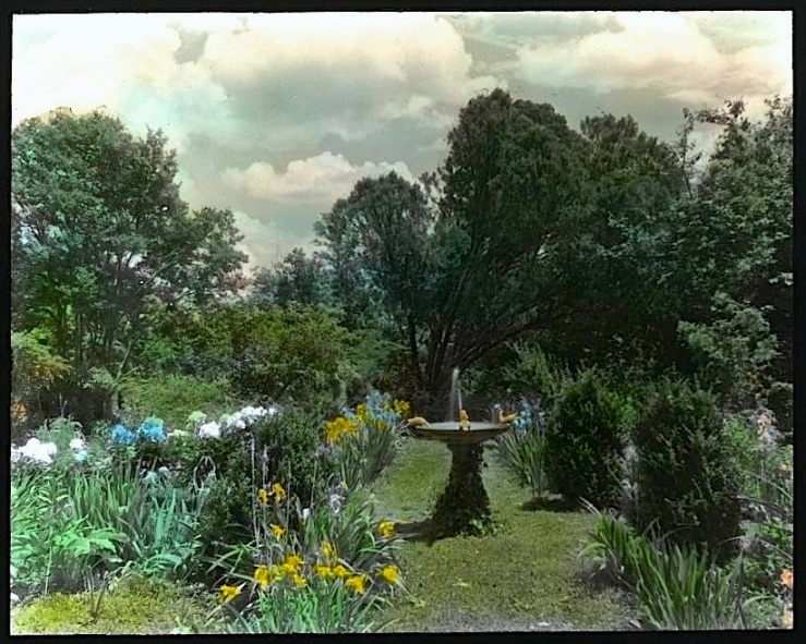 Garden w:birdbath, FB Johnston, Library of Congress