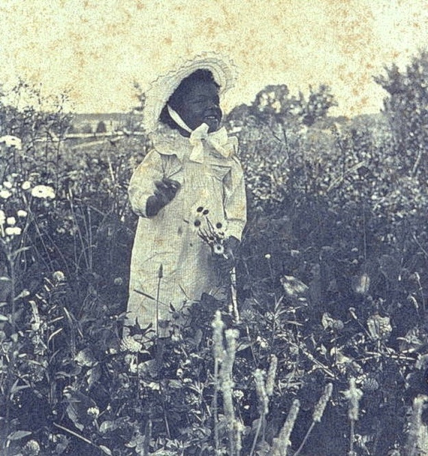 Girl in flower field, Library of Congress