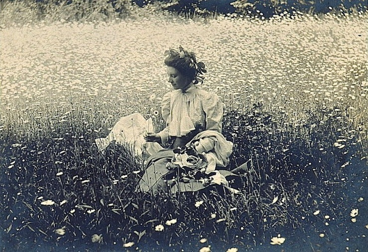 Woman in daisy field, Library of Congress