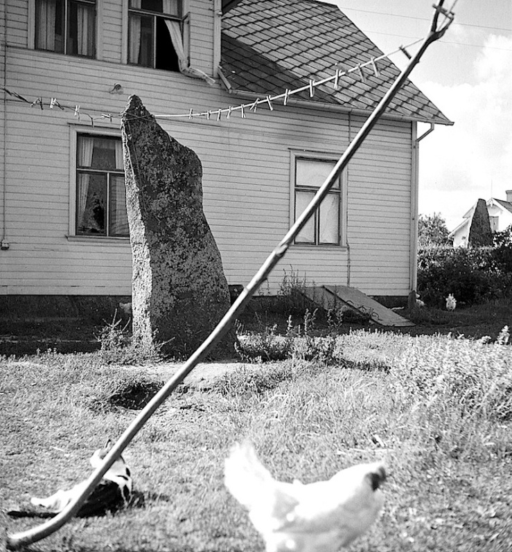 clothes line and ancient standing stone in Sweden, 1949, Swedish Natl Heritage Board