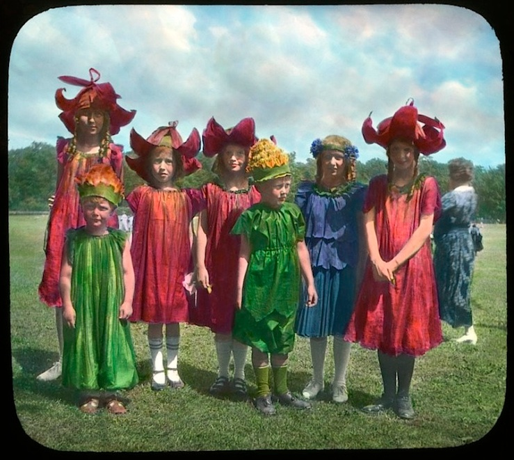 6 Child:ren in wildflower costumes, Chicago, ca. 1920, The Field Museum Library