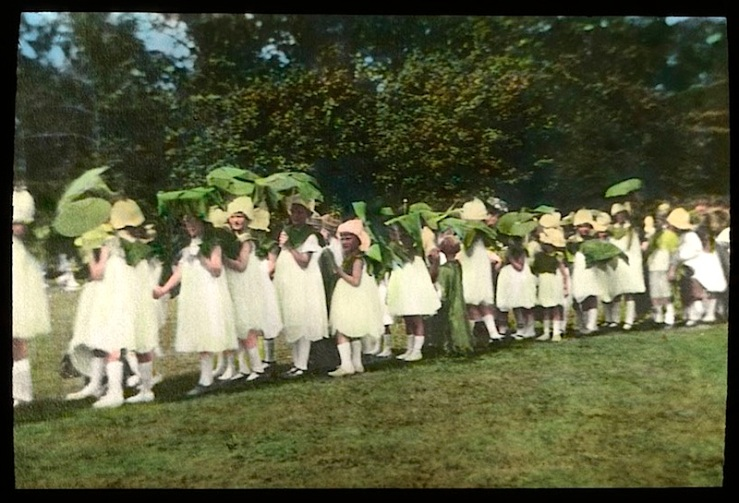 9 Child:ren in wildflower costumes, Chicago, ca. 1920, The Field Museum Library